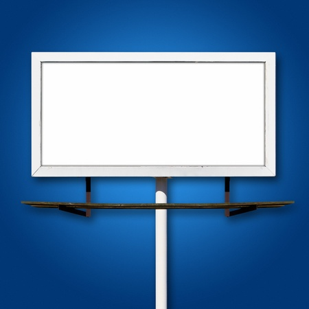 Blank Billboard Advertising Sign on Blue Background photo
