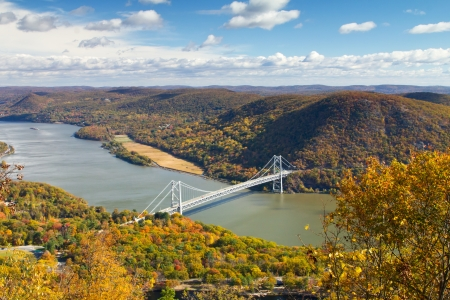 Bridge over the Hudson River Valley in Fall, view from Bear Mounatin in New York
