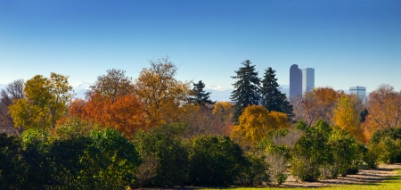 city of denver: Denver, Colorado - Panoramic view of City Park and downtown skyline in Fall Stock Photo