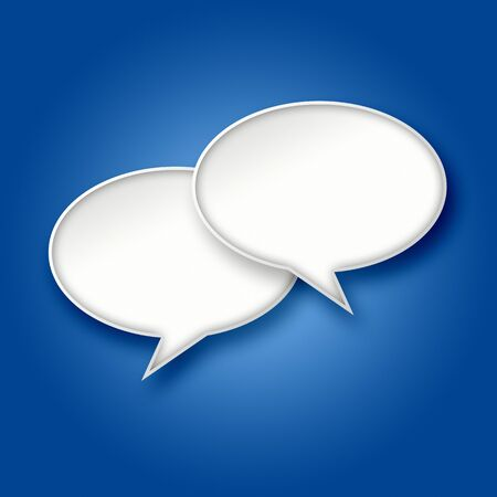 chats: 3D blank white chat bubbles on blue gradient background