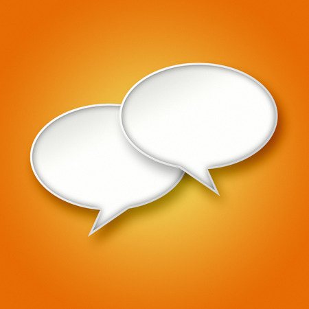 chat balloon: 3D blank white chat bubbles on bright orange gradient background