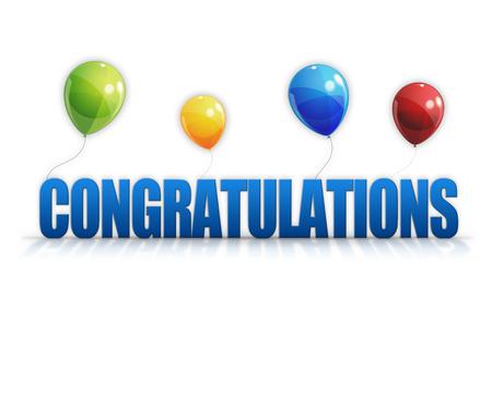 felicitaciones: Felicidades globos aislados sobre fondo blanco Foto de archivo