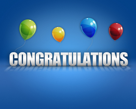 Congratulations balloons on 3D stage background template