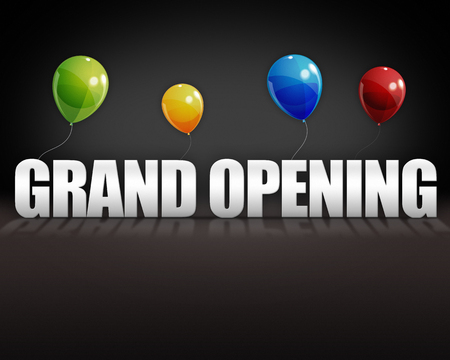 Grand opening balloons on dark 3D stage background