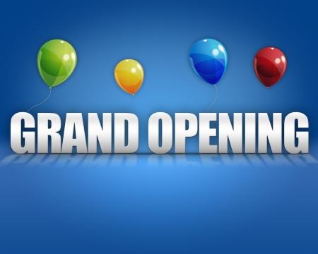 profesionálové: Slavnostního otevření balóny na modrém 3D etapa pozadí šablony Reklamní fotografie