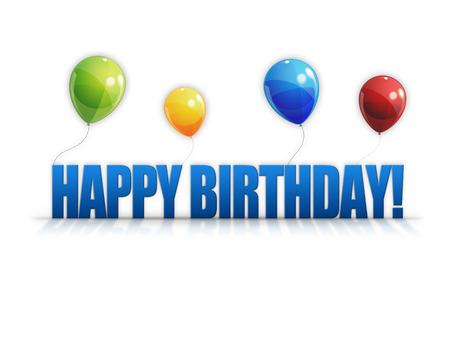 Happy Birthday balloons isolated on white background  Stock Photo