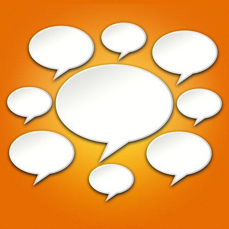 chats: Chat bubble icons conversation on orange gradient background Stock Photo