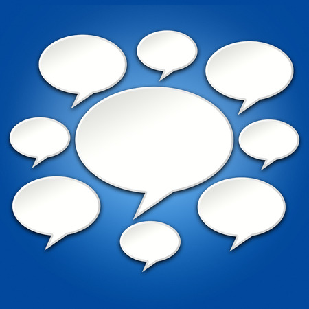 chats: 3D Chat bubble icons conversation on blue background