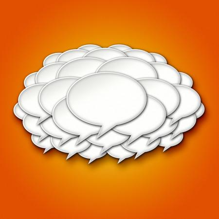 chats: 3D Chat Bubble Storm Cloud on Orange Gradient Background