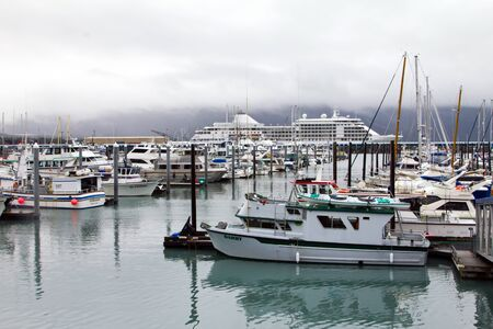 Seward, Alaska - Ships and Boats in the Harbor on a Rainy Summer Day