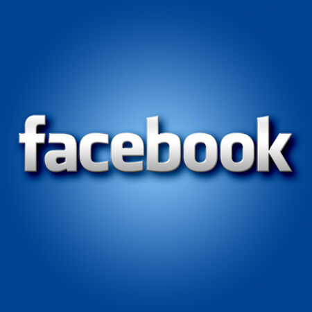 3D Facebook Sign on Blue Background Graphc Editorial