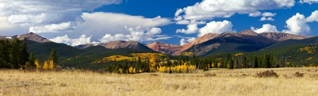 Panoramic landscape view of the Colorado Rocky Mountains in Fall - Kenosha Pass