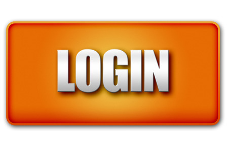 login button: Login 3D orange button isolated on white background - UI interface website design element Stock Photo