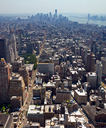 New York City - Manhattan skyline with new World Trade Center seen from the Empire State Building Фото со стока