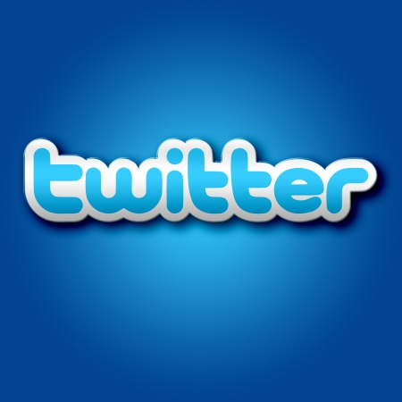 3D Twitter Sign on Blue Background Graphic