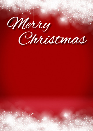 christmas greeting: Snowy Merry Christmas Blank 3D Greeting Card Background Template