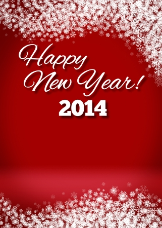 2014 Happy New Year Snowy Blank 3D Greeting Card photo