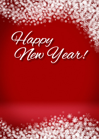 Happy New Year Snowy Blank 3D Greeting Card Background Template photo