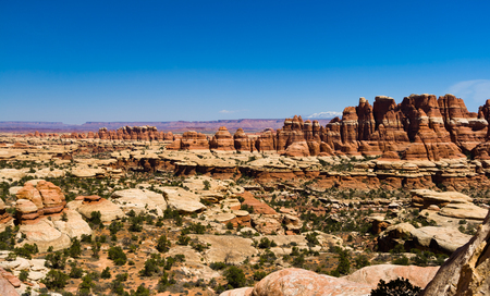 arches national park: Panoramic desert canyon landscape in Canyonlands National Park in Utah Stock Photo