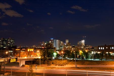 denver skyline at sunset: Denver, Colorado downtown skyline with at night