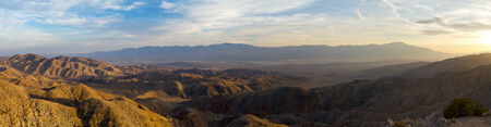 joshua: Panoramic desert landscape with San Andreas Fault - from Joshua Tree National Park in California Stock Photo