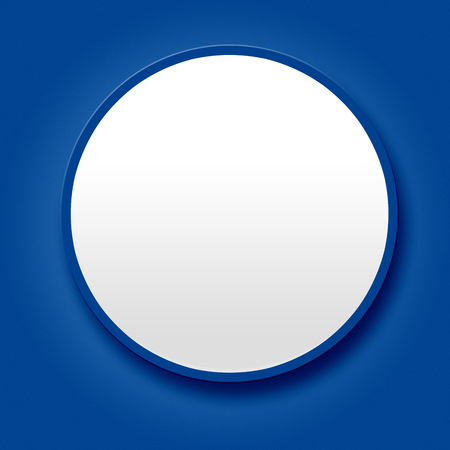 Big blank white button on blue background photo
