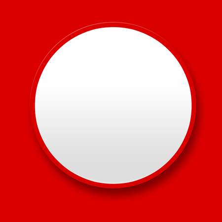 Big blank white button on red background photo
