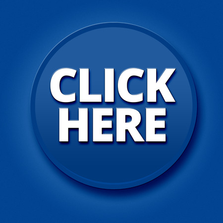 click here: Big blue click here 3d button on blue background Stock Photo