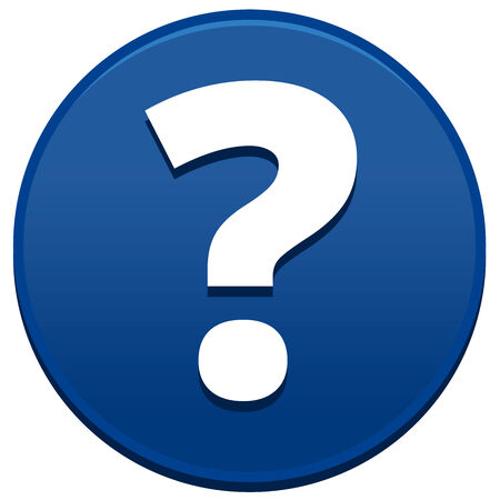 Big blue question mark button isolated on white background photo