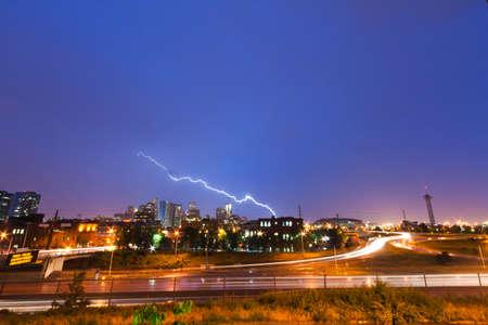 skyline of denver: Lightning strike above the Denver Colorado skyline