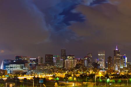 denver: Denver Colorado downtown city skyline at night