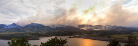 Panoramic landscape of the High Park Fire in Colorado, 2012