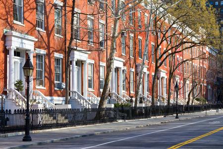 New York City - row of buildings near Washington Square Park in Manhattan