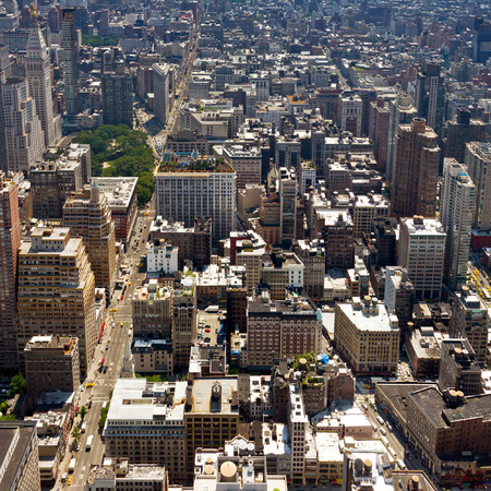 bird's eye view: New York City - Birds Eye View of Manhattan Buildings Stock Photo
