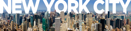 new york city panorama: New York City Panoramic Manhattan Skyline Text