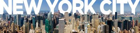New York City Panoramic Manhattan Skyline Text