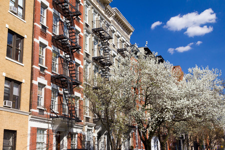 New York City street scene in Spring