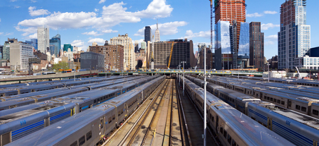 new site: New York City skyline from the High Line with view of Hudson Yards trains