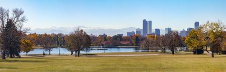 denver city park: Denver, Colorado Skyline and Front Range Moutains Panoramic Landscape seen from City Park