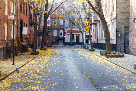 greenwich: Quiet Empty Commerce Street in the Historic Greenwich Village Neighborhood of Manhattan, New York City Stock Photo