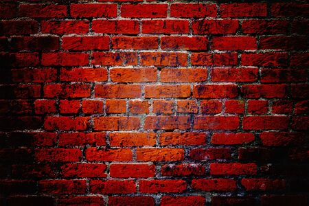 red brick: Dark grungy red brick wall background texture