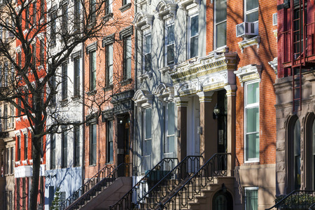 stoop: Buildings along Tompkins Square Park in Manhattan, New York City Stock Photo