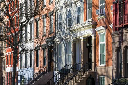 Buildings along Tompkins Square Park in Manhattan, New York City Archivio Fotografico