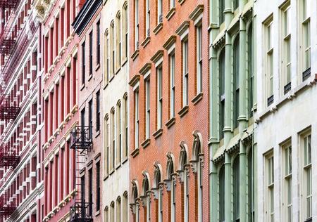 New York City colorful apartment buildings in Soho Manhattan