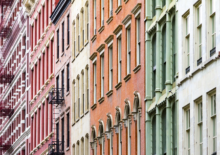 New York City colorful apartment buildings in Soho Manhattan