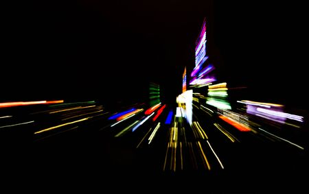 night lights: New York City nightime skyline lights abstract background Stock Photo