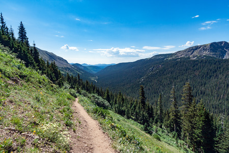 colorado rocky mountains: Dirt hiking trail through the Colorado Rocky Mountains Stock Photo