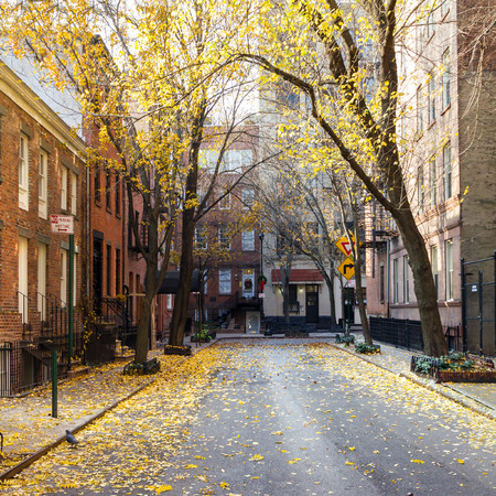 greenwich: New York City fall street scene in the historic Greenwich Village neighborhood of Manhattan Stock Photo