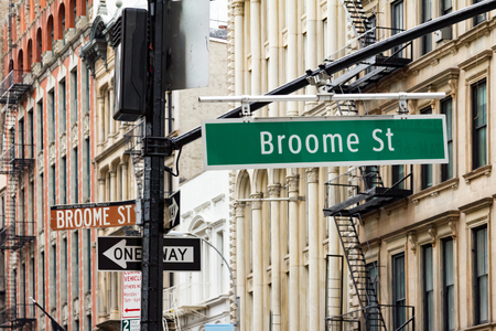 street signs: Intersection of Broadway and Broome Street in the Soho area of Manhattan, New York City