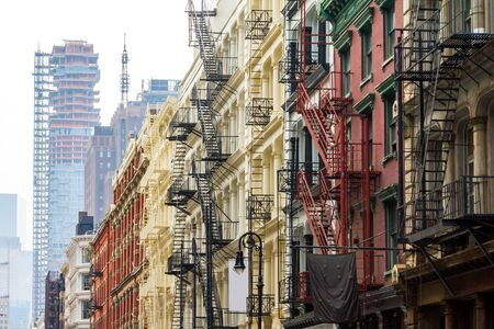 high rise: Long row of colorful buildings in the Soho neighborhood of Manhattan, New York City